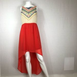 Flying Tomato embroidery high low dress (N)